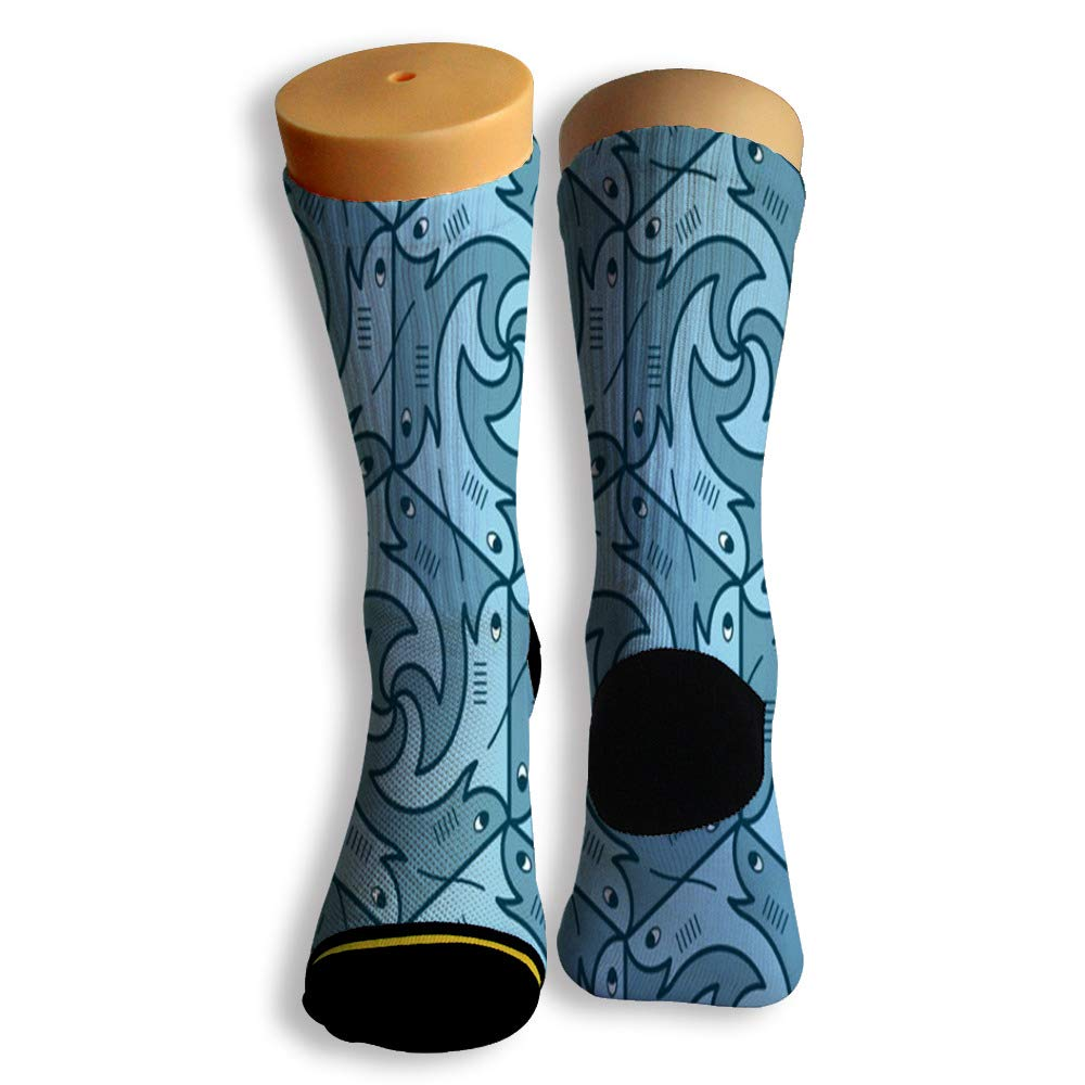 Basketball Soccer Baseball Socks by Potooy Funny Shark Doodle 3D Print Cushion Athletic Crew Socks for Men Women