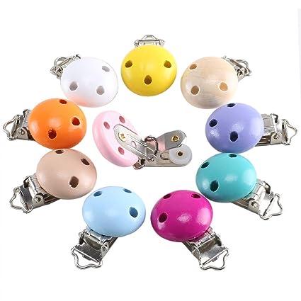ETSAMOR 10pcs Pinzas de Chupete de Madera para Niños Bebés Clips para Chupetes Multicolor Fijado a ropa Carro de bebe