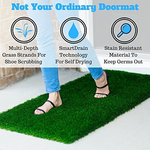 Large Grass Door Mat Rug With SmartDrain Technology - Stain Resistant Green Turf Perfect For Inside, Outside, Home Entryway, Patio, Balcony, Porch, RVs or Camping, Rectangle Size of 2X4 Feet (Large Grass Mats)