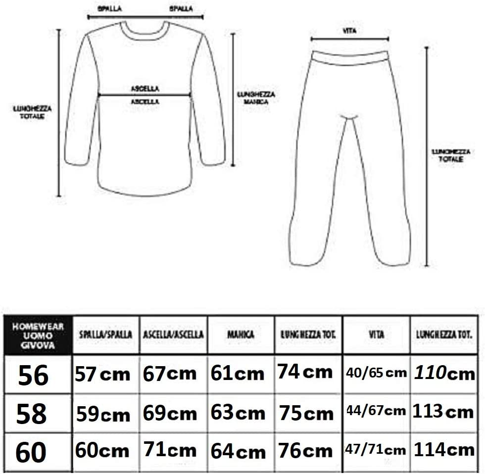 Manica Lunga e Pantalone Lungo Misure: M XL Pigiama Uomo Caldo Cotone Interlook L Irge MI575 XXL Blu navy//Grigio, M