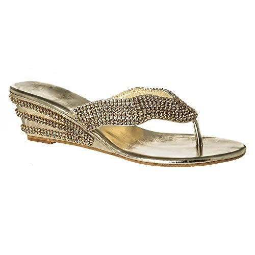 Womens Ladies Low Wedge Sandals Diamante Mule Toe Post Slip On Shoes Size 3  4 5