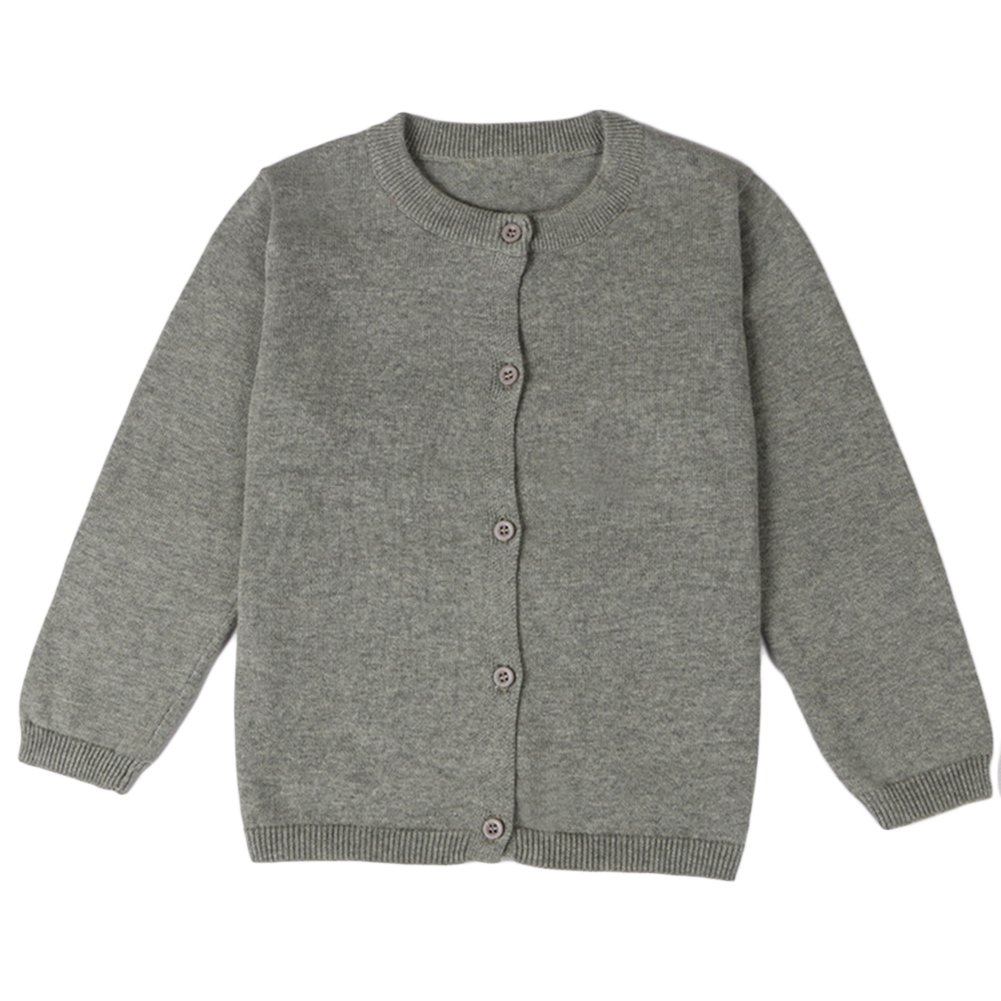 Comfybaby Little Girls Basic Crew Neck Solid Fine Knit Cardigan Sweaters (Age(4T), Grey)