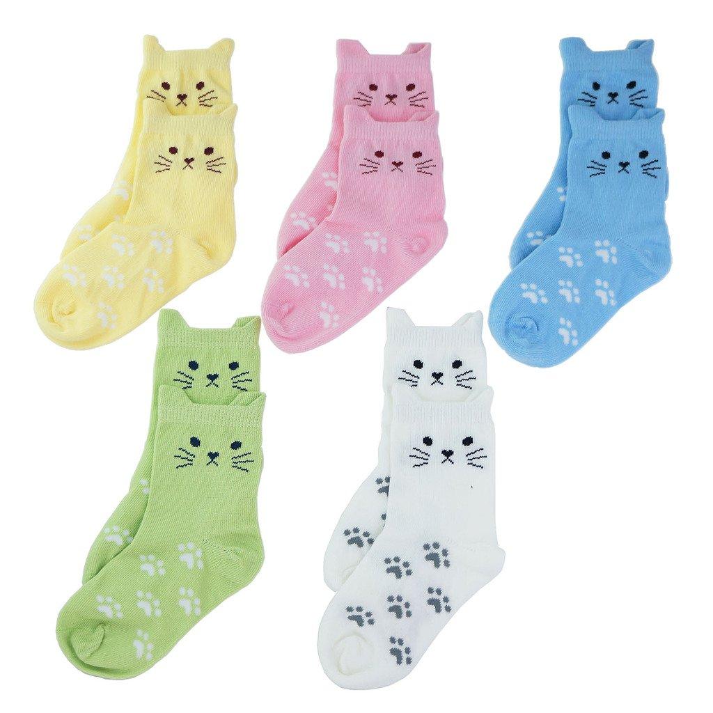 Tandi Kids Girls Cotton Novelty Cats Crew No Seam Socks - 5-8 Years/Little Kid 10.5M-12.5M/16cm-18cm - Multicoloured (5 Pair) by Tandi (Image #4)