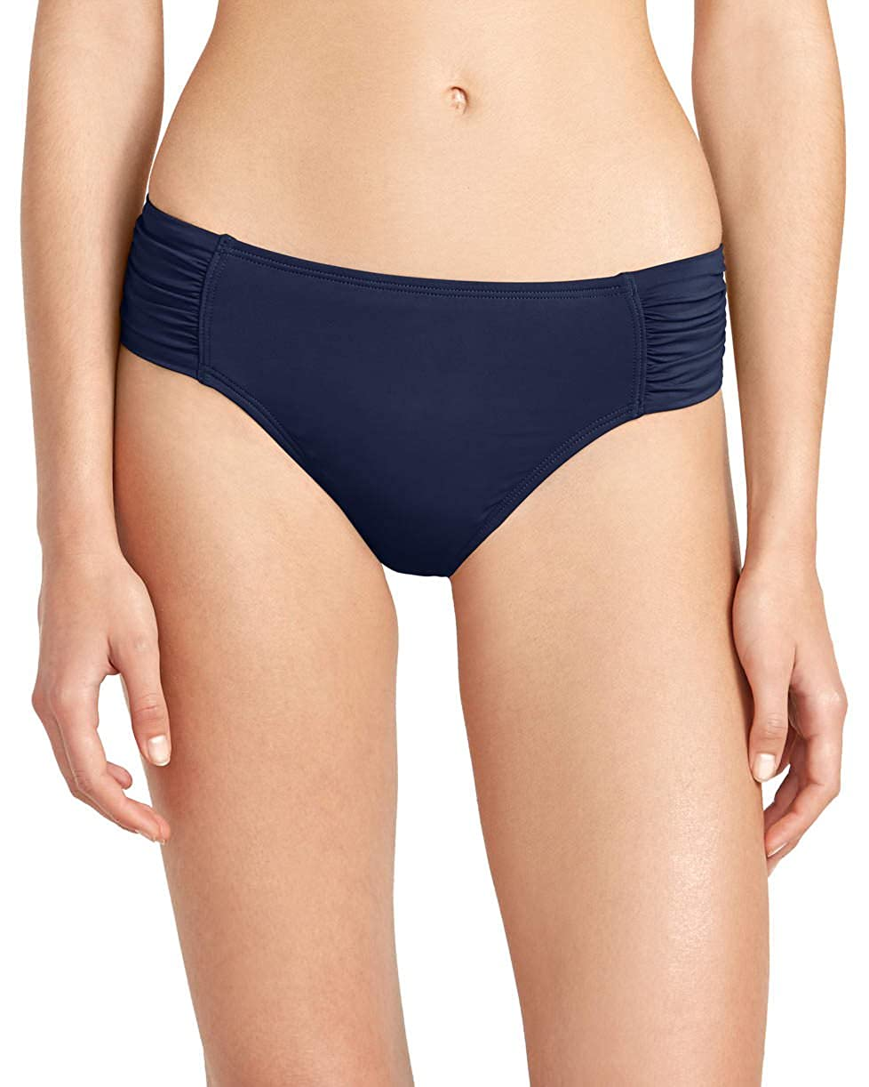 ba89e1a427 Amazon.com  Tommy Bahama Womens Pearl High-Waist Side-Shirred Bikini  Bottoms Mare Navy Size XS  Clothing