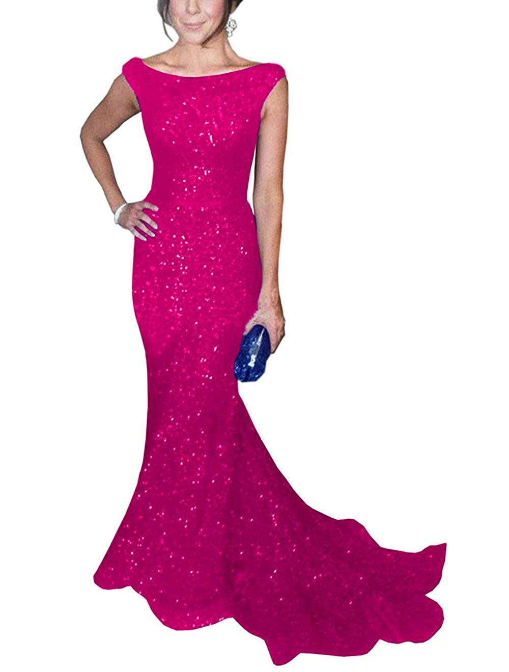 pink Red ToonySume Women's Mermaid Sequined Prom Gown Formal Evening Dress for Wedding