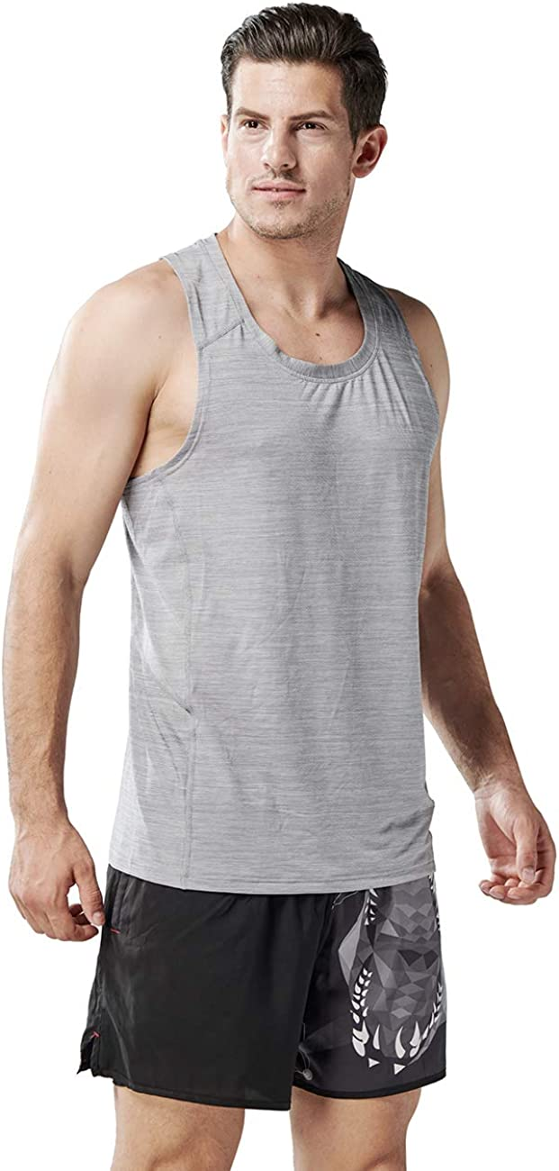 HUGE SPORTS Mens Gym Fitness Y-Back Quick Dry Tank Top-Bodybuilding Workout Muscle Sleeveless Shirts
