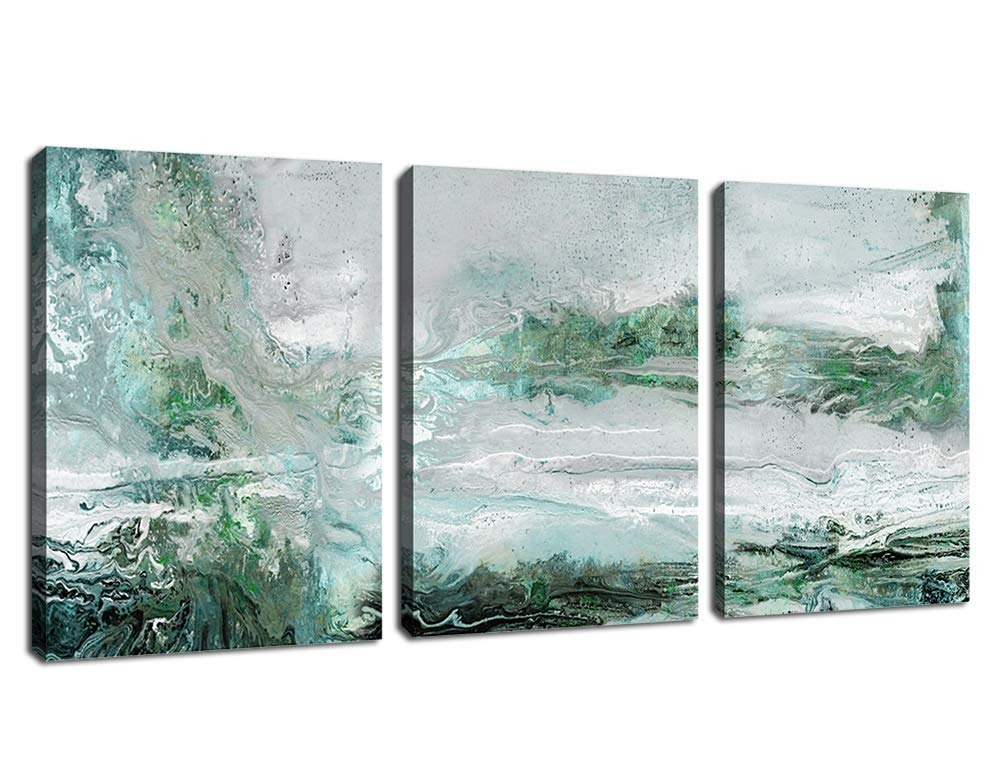 """arteWOODS Abstract Canvas Wall Art Bedroom Wall Decor Contemporary Wall Art Bathroom Wall Decor Grey Blue Green Canvas Picture Modern Artwork for Home Decoration 12"""" x 16"""" x 3 Pieces"""