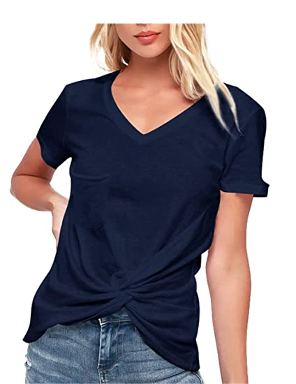 9c08c6184388 FHKDL Junior Women Casual Shirts V-Neck Cotton Loose T Shirt Tunic Tops  Blouse (Navy Blue, M) at Amazon Women's Clothing store: