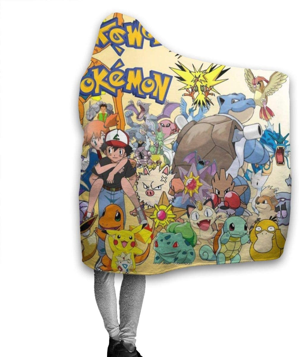 Pokemon Hoodie Blanket Wearable Throw Blankets for Couch Blanket Hooded for Baby Kids Men Women 50 X40