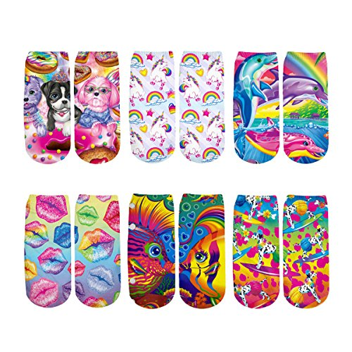 (Lisa Frank Socks novelty socks 3D Socks Funny Crazy Ankle Socks Value Pack YX GIRL (Lisa Frank))