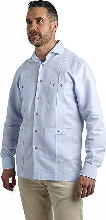 Camisa Guayabera para Hombre | Color Celeste con Manga Larga y Cuatro Bolsillos | Camisa para Hombre | Nueva Colección Primavera Verano