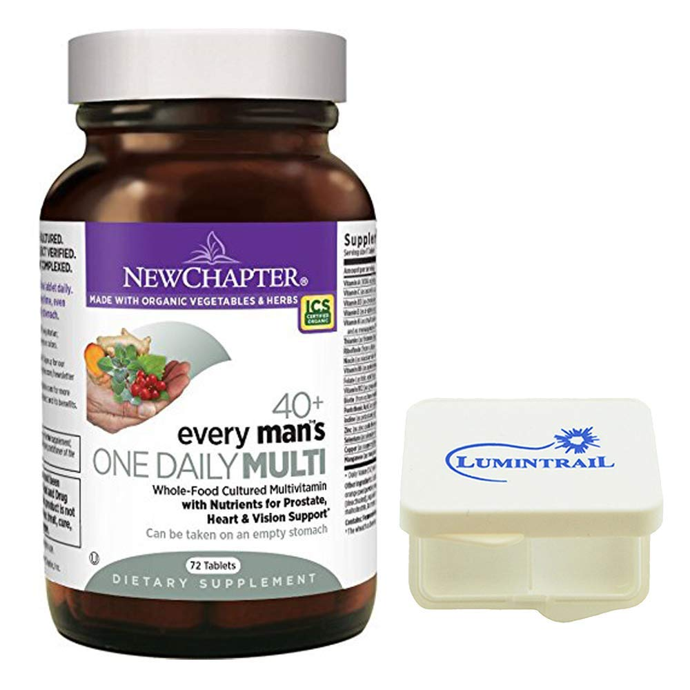 New Chapter Every Man's One Daily 40+ Multivitamin with Nutrients for Prostate, Heart, and Vision - 72 ct Tablets Bundle with a Lumintrail Pill Case