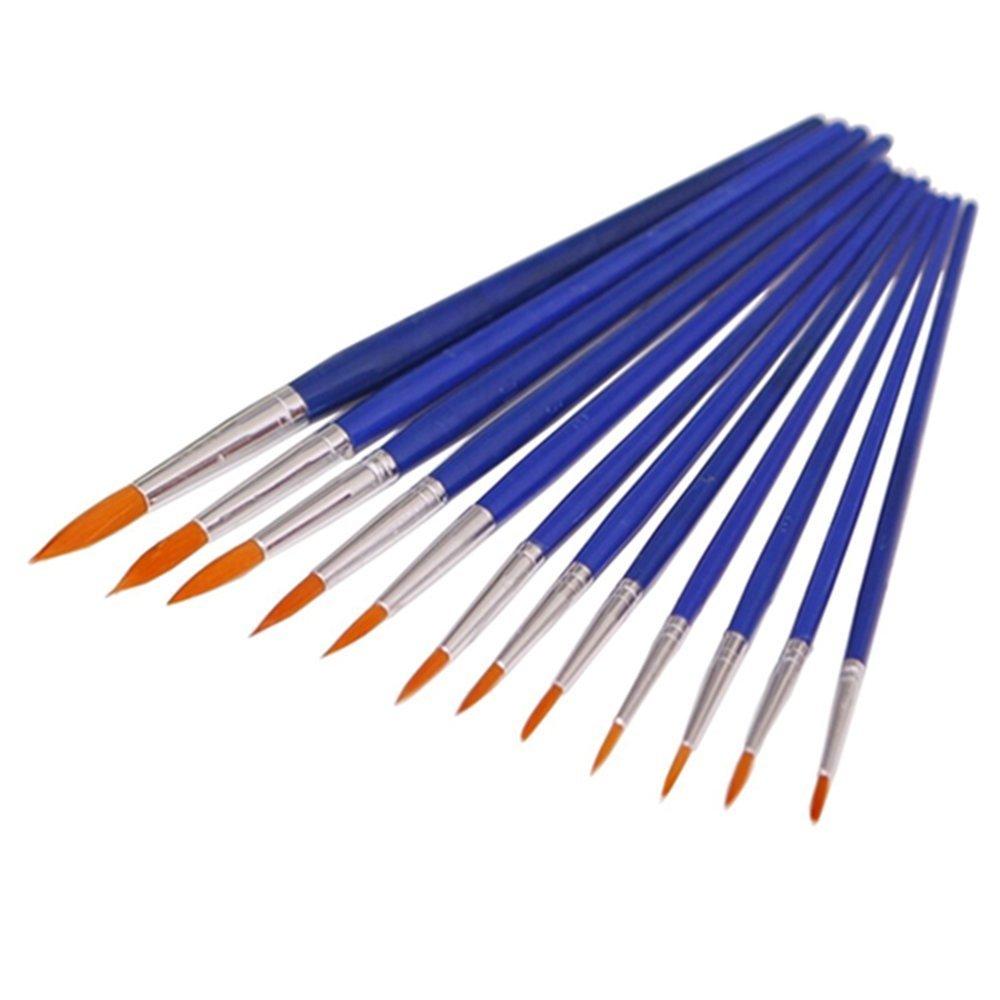 BODHI2000® - Set di 12 pennelli a punta rotonda, in nylon, per pittura ad acquerello
