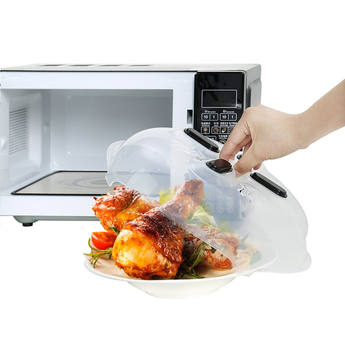 Microwave plate cover – Best Anti Sputtering Touch Plate Microwave Cover with Steam Vent – Easy to Use, Ideal for Any Food, Dishwasher Safe – BPA Free Microwave Cover Ideal as A Gift