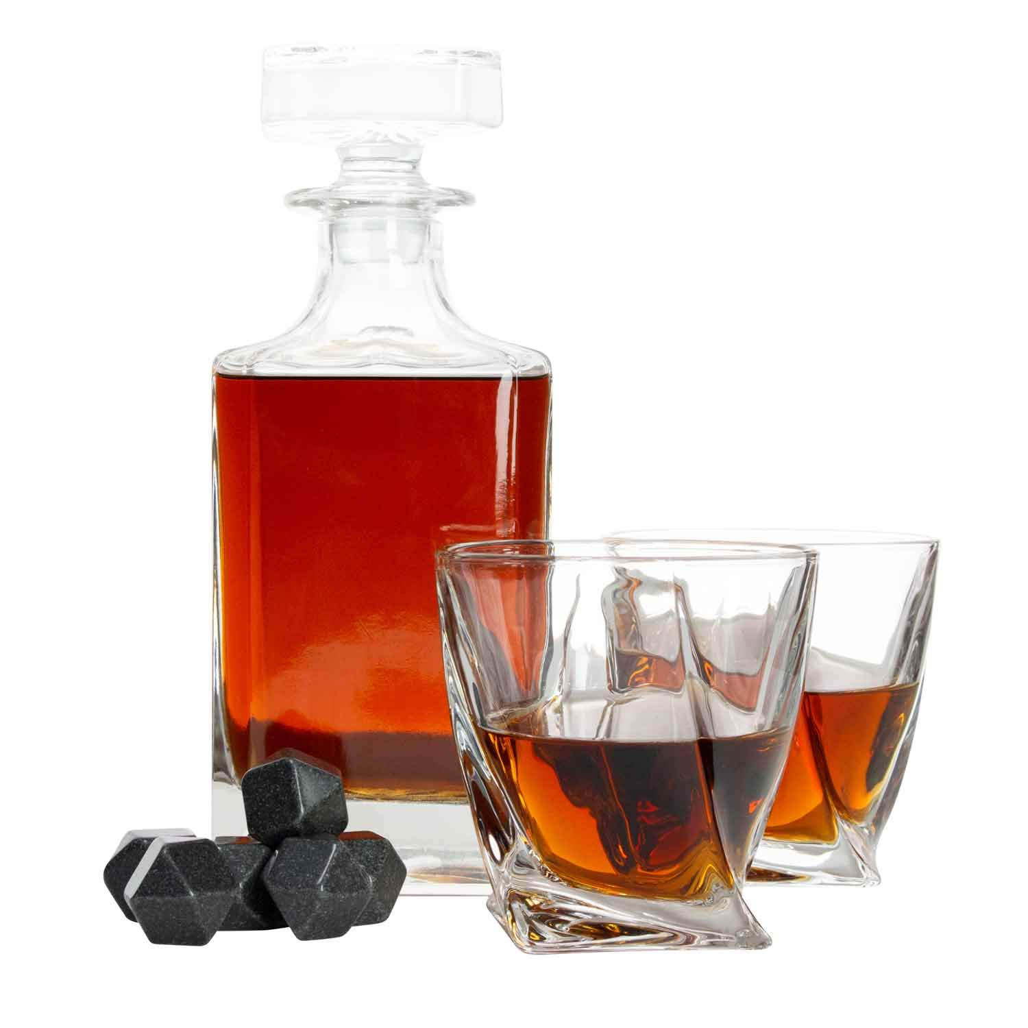 Atterstone Crate Whiskey Box Set with Premium Decanter and 2 Swirl Glasses, Includes 9 Chilling Stones and 2 Dark Stone Coasters, Encased in Polished Wood Box Great for Holiday and Wedding Gifts by Atterstone (Image #5)