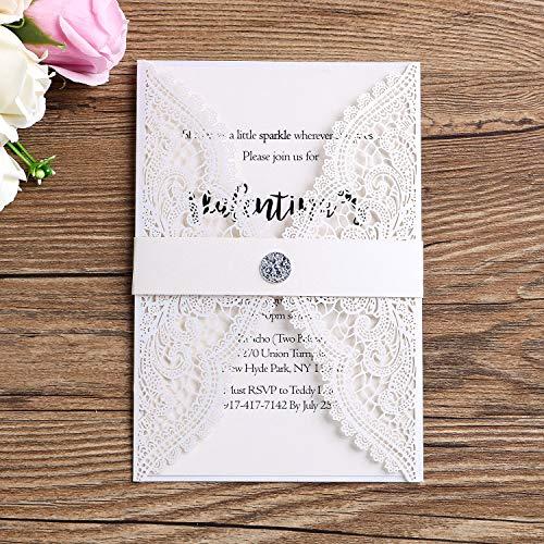 PONATIA 25 PCS Lacer Cut Wedding Invitations Cards Hollow with Diamond Belt for Wedding Bridal Shower Engagement Birthday Graduation Invite -