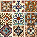 Tile Stickers 4-1/4 Inch 24pc Inch Kitchen Backsplash Bathroom Vinyl Waterproof Peel and Stick Mexican Talavera TR003