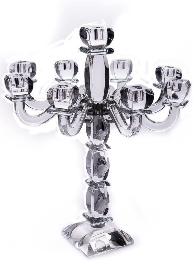 Candelabra Crystal and Sterling Silver 9 Branches Item # 16421