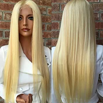 Amazon.com : PlatinumHair long blonde straight wigs synthetic lace front straight wigs for black women 26inch : Beauty