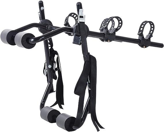 HOMCOM Accesories Portabicicletas para Portón Trasero Plegable con Correas de Seguridad Soporte de 2 Bicicletas hasta 50kg para la Mayoría Modelos de Coche 75x50x10cm Negro