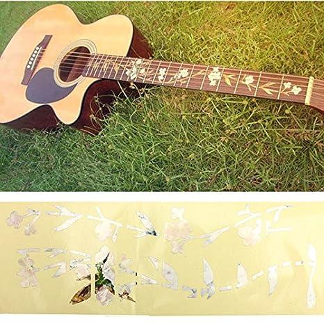 Frontier Guitarra bajo la etiqueta engomada del embutido marcadores diapasón de flores calcomanía traste bricolaje y plantas: Amazon.es: Juguetes y juegos