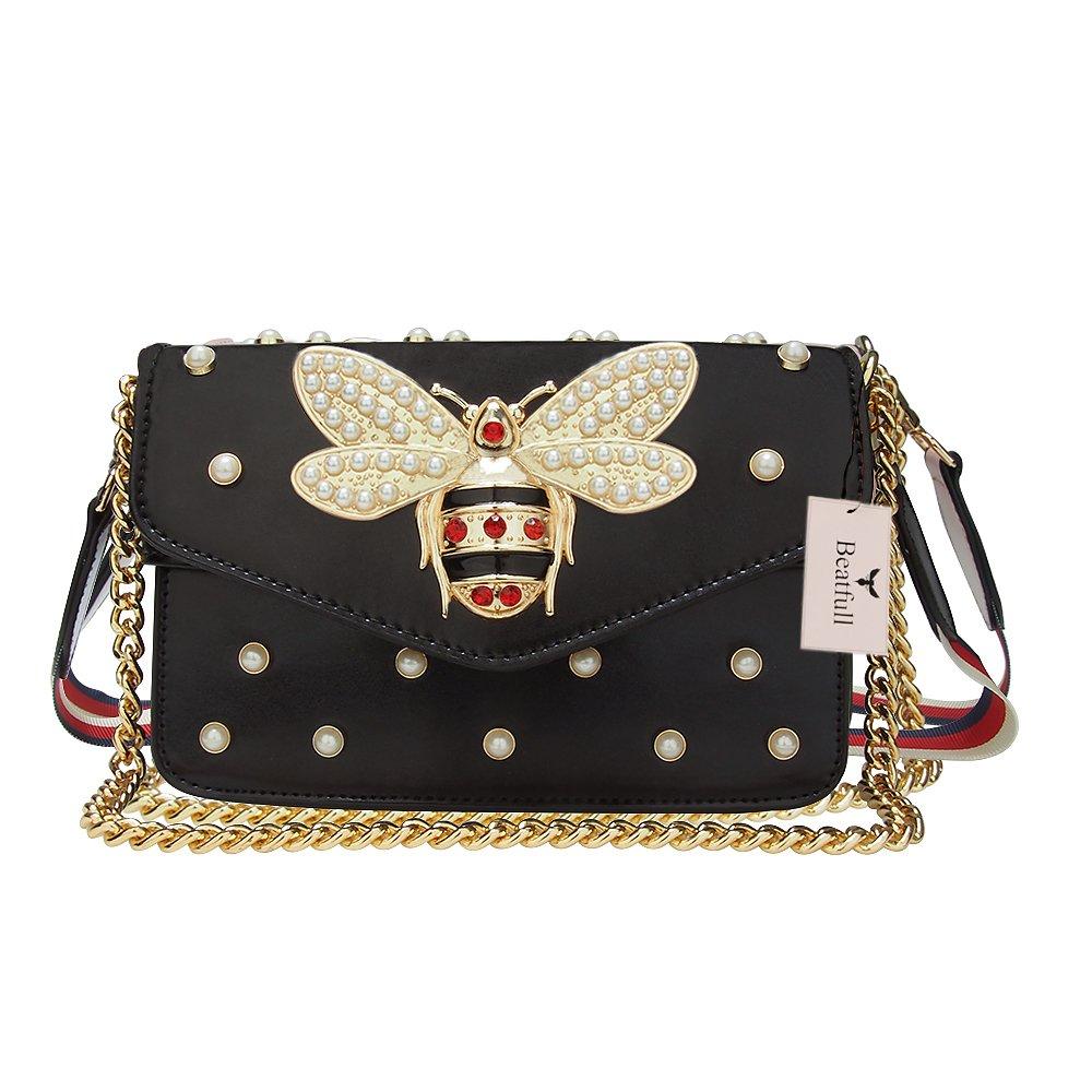 Beatfull Designer Pu Handbags for Women, Fashion Bee Leather Shoulder Bags Cross Body Bag with Pearl (Black)