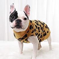 Suéter para perro PASRLD con estampado de leopardo, cuello alto, suéter cálido para mascotas para otoño e invierno (S…