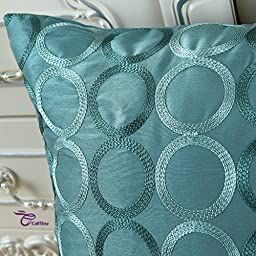 CaliTime Contempo Decorative Throw Pillow Cover Faux Silk Two-tone Circles Rings Chain Embroidered 18 X 18 Inches Teal