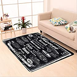 Sophiehome skid Slip rubber back antibacterial  Area Rug hand drawn chalkboard menu 194951270 Home Decorative