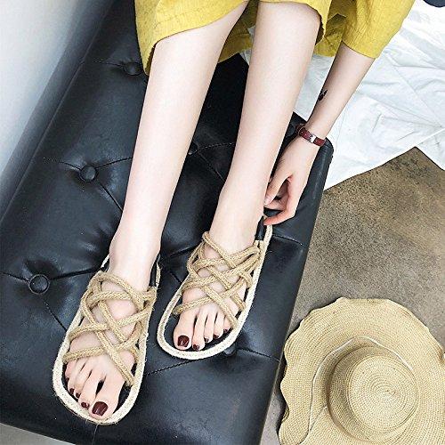 Chanvre Femmes XING 36 Weave Yellow GUANG Nouvelles 37 Plat D'été Sandales Grass Mince Yellow Coréennes Chaussures qWAC8nBq