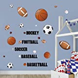 decalmile Sports Wall Decals Boys Wall Stickers Soccer Baseball Football Hockey Basketball Wall Art for Boys Room…