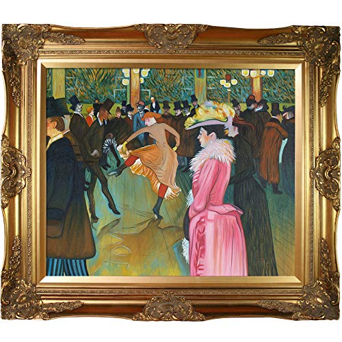 (overstockArt at The Moulin Rouge, The Dance Framed Oil Reproduction of an Original Painting by Henri De Toulouse Lautrec, Victorian Frame, Gold Finish)