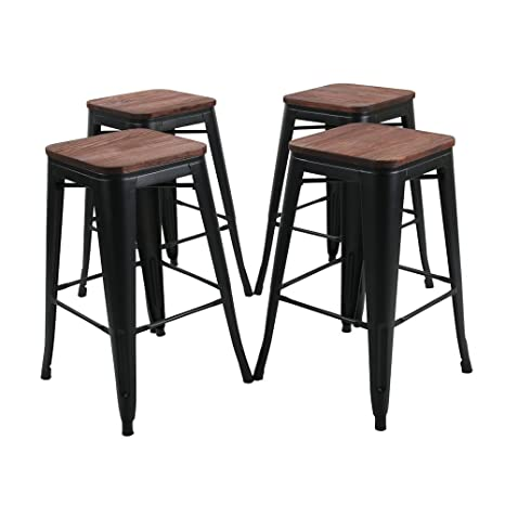 Prime Tongli Metal Barstools Set Industrial Counter Height Stools Pack Of 4 Patio Dining Chair Black Wooden Seat Backless 26 Gamerscity Chair Design For Home Gamerscityorg