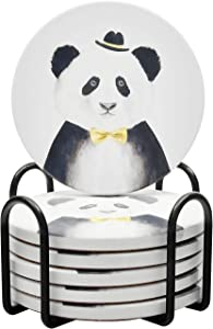 Coasters for Drinks Absorbent Funny Panda Ceramic Coaster Set with Cork Base and Holder for Housewarming Gift, Christmas Gift, House Living Room Bar Wine Beer Coffee New Home Décor, Set of 6 - White