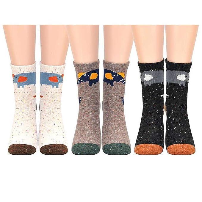 HighCool 3 pares Calcetines de invierno, Calcetines de mujer de algodón cálido para mujer, Punto de calcetín de piso vintage puro, Calcetines de cama EU ...