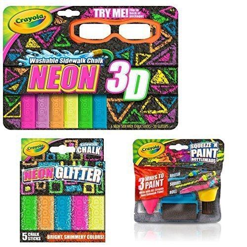 Crayola 3-D Neon Washable Sidewalk Chalk, Neon Glitter Chalk and Chalk Paint Bottleheads