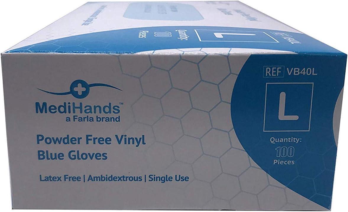 MediHands Gants en vinyle sans poudre Bleu Sans latex X Small Lot de 100 Jetables