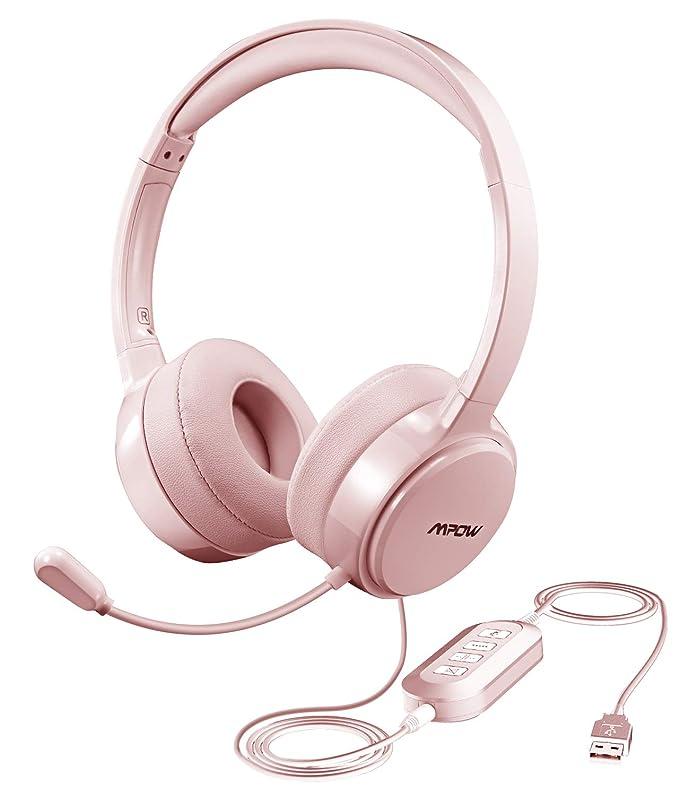 Mpow PC Headset Faltbar Klinke Headset mit einziehbaren Mikrofon USB Headset // 3.5mm Chat Headset Noise-Cancelling Computer Headset f/ür Alles Telefon PC Call-Center Webinar Smartphone,Skype