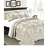 4pc Beige Oversized Bedspread King Floor Set, Polyester, Extra Long Floral Damask Bedding Drops Over Edge Bed Wide French Country Pattern Embroidered Stitching Classic