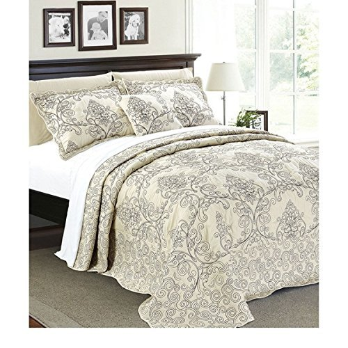 4pc Beige Oversized Bedspread King Floor Set, Polyester, Extra Long Floral Damask Bedding Drops Over Edge Bed Wide French Country Pattern Embroidered Stitching Classic by OSD