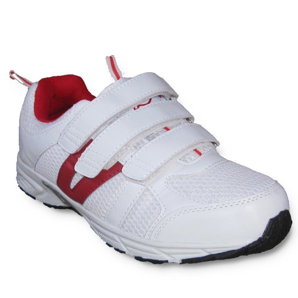 Dr Zen Jordan Women's Comfort Therapeutic Extra Depth Shoe: White/Red 15.0 Wide (E-3E) Velcro by Dr. Zen (Image #1)