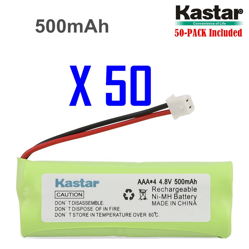 Kastar 50-PACK 4.8V 500mAh Ni-MH Rechargeable Battery Replacement for Dogtra BP12RT Dog Training Collar Receiver and 1900 NCP, 1902 NCP, 300M, YS500, SureStim H Plus, 1900 NCP, 302M and more Models