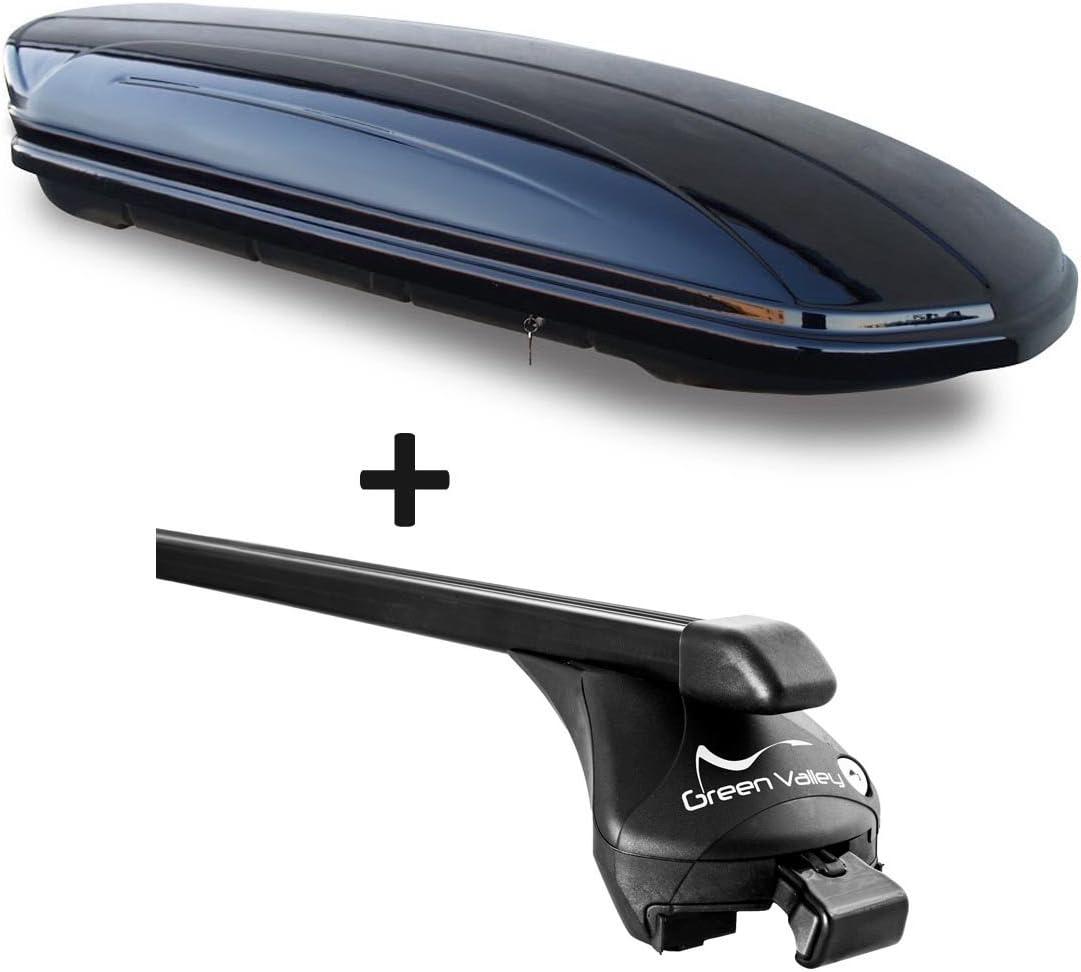 barres de toit Barres Quick pour rail aufliegende en kit pour Audi Q5//à partir de 2008/jusqu/à 100/kg VDP Coffre de toit Noir brillant Maa 580/voiture Coffre de toit verrouillable 580/L