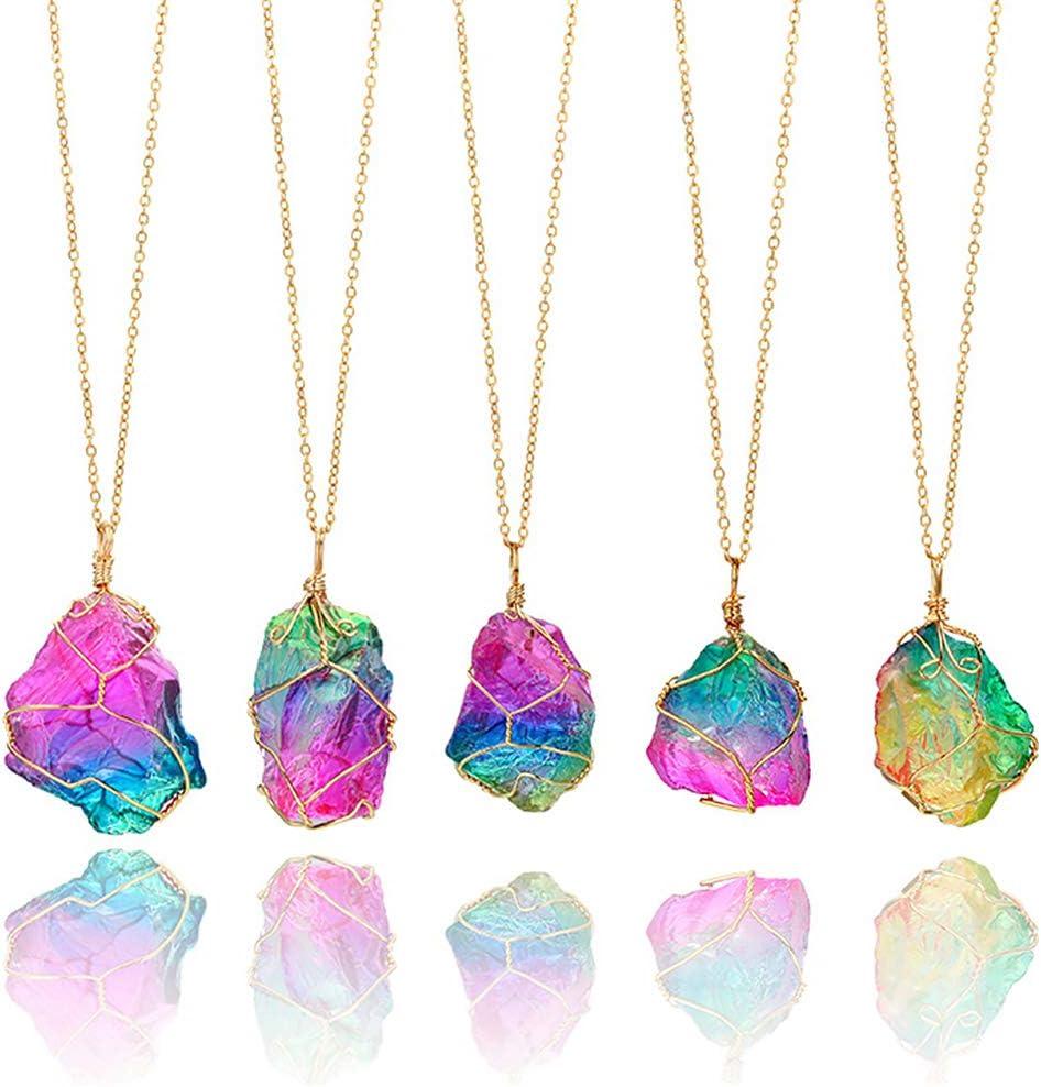 Collar con colgante de cristal curativo natural hecho a mano de forma irregular y piedra preciosa de nacimiento, color al azar