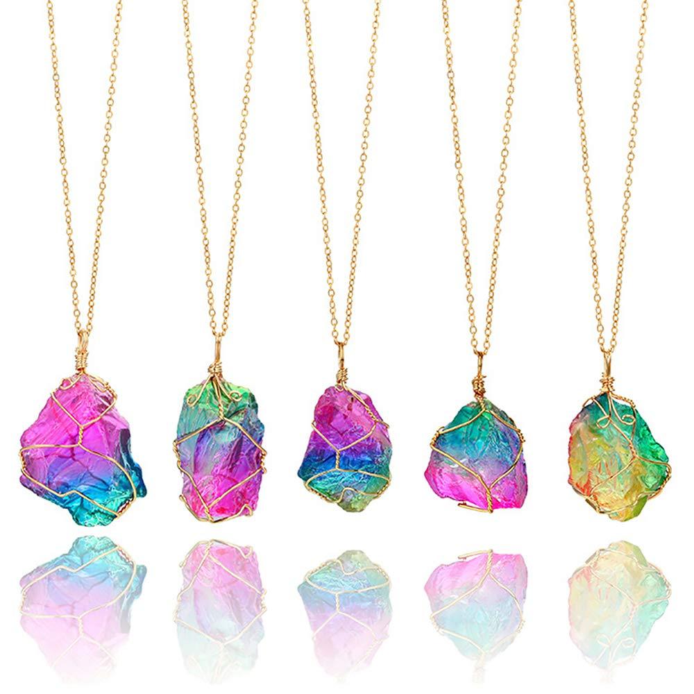 "Natural Quartz Chakra Healing Crystal Gemstone Pendant Reiki Necklace 18/""-32/"" UK"