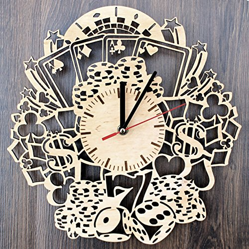 Casino Poker Design Real Wood Wall Clock - Eco Friendly Natural Bedroom Wall Decor - Creative Gift Idea for His and Her