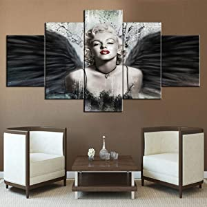 Angel Pictures for Living Room Sexy Model Marilyn Monroe Paintings Black Wing Grunge Artwork 5 Panel Prints Wall Art on Canvas Vintage House Decor Framed Gallery-Wrapped Ready to Hang(60''Wx32''H)