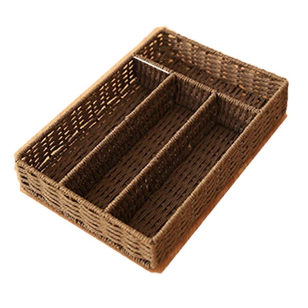 No Cover Storage Box Woven Table Top Debris Storage Box Multi-Grid Woven Basket, 01 by SEESUNG