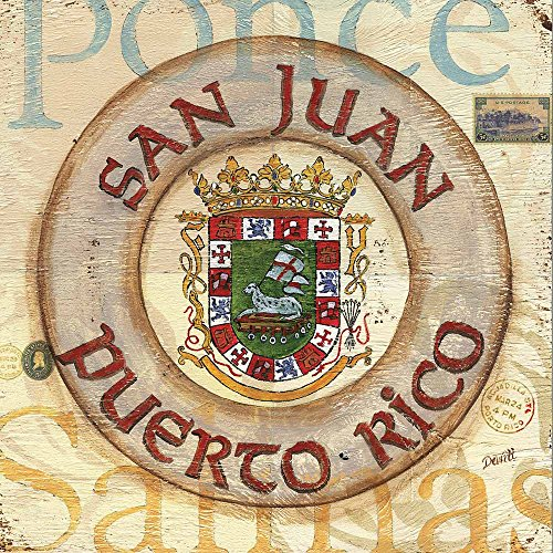 Canvas Art Print Nautical Unmounted - 40X40cm (Approx. 16X16inch) - Giclee Picture Artwork Wall Decor for Living Room - Puerto Rico Coat of Arms Painting