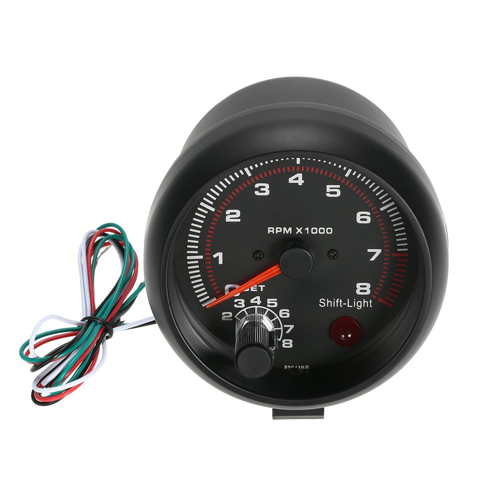 KKmoon 12  V Auto-Tachometer, mit 7  Farben, LED, Shift Light, 0  –   8000  U/Min